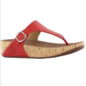 Fitflop Shoes - FITFLOP~The Skinny Sandals in Red Leather Cork~6